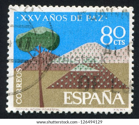 SPAIN - CIRCA 1966: stamp printed by Spain, shows Pine Tree, Mountains, circa 1966