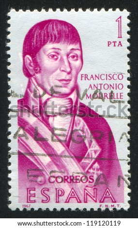 SPAIN - CIRCA 1967: stamp printed by Spain, shows Portrait of Francisco Antonio Mourelle, circa 1967