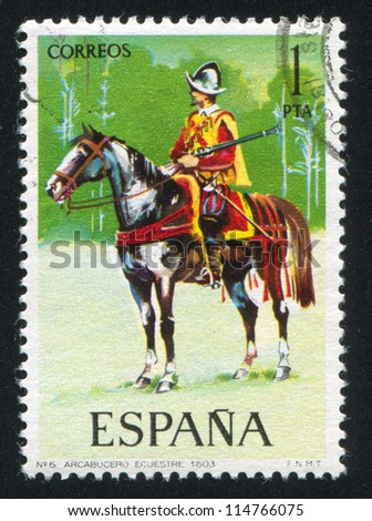 SPAIN - CIRCA 1973: stamp printed by Spain, shows rider, Harquebusier on horseback, circa 1973.