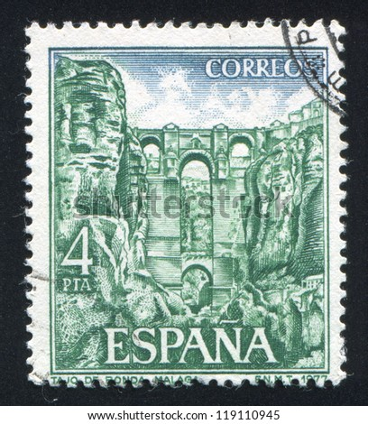 SPAIN - CIRCA 1977: stamp printed by Spain, shows Ronda Gorge in Malaga, circa 1977
