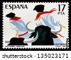 SPAIN - CIRCA 1984: stamp printed by Spain, shows Sanfermines in Pamplona (Spain), circa 1984 - stock