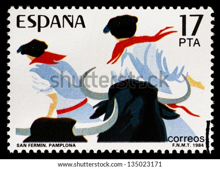 SPAIN - CIRCA 1984: stamp printed by Spain, shows Sanfermines in Pamplona (Spain), circa 1984 - stock photo