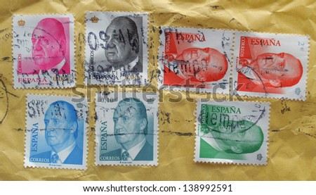 SPAIN, CIRCA 2011 - stamps bearing a full-face portrait of King Juan Carlos I, released in Spain, circa 2011 - stock photo