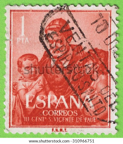 SPAIN - CIRCA 1960: Used postage stamp and postmark printed in Spain issued for the Commemorating the third centenary San Vicente de Paul