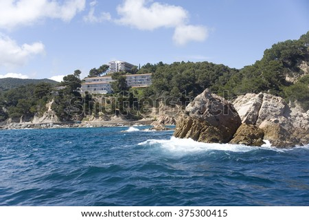 Spain, Costa Brava. Hotel on the rock.