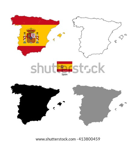 Spain country black silhouette and with flag on background, isolated on white - stock photo