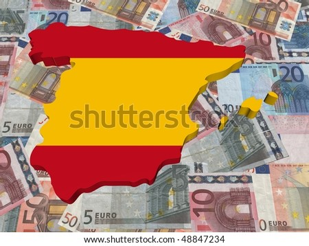 Spain 3d Map flag on euro currency illustration - stock photo