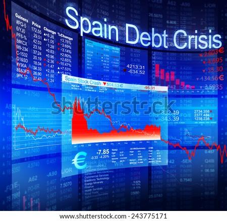 Spain Debt Crisis Economic Stock Market Banking Concept - stock photo