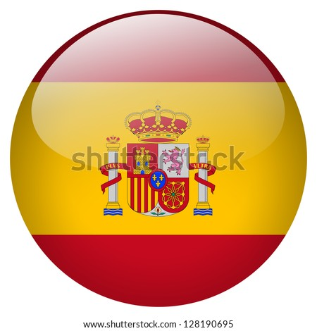 Spain flag button - stock photo
