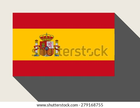 Spain flag in flat web design style. - stock photo