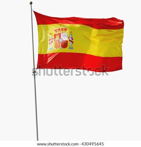 Spain flag isolated. Spanish flag waving against of white background.  - stock photo