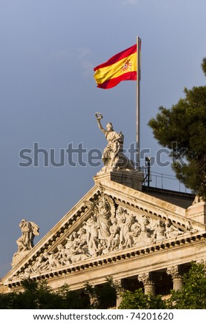 Spain Flag of public library in Madrid