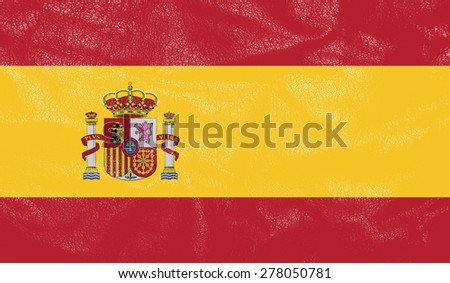Spain flag on leather texture - world flag leather textured - stock photo