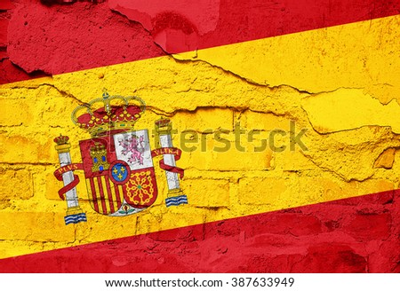 Spain Flag painted on old wall texture