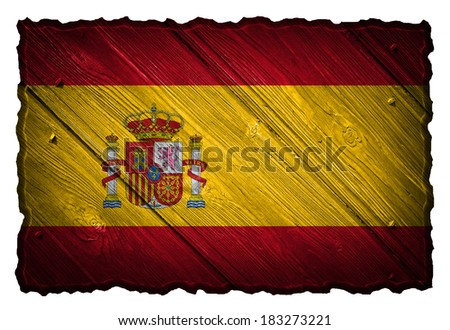 Spain flag painted on wooden tag