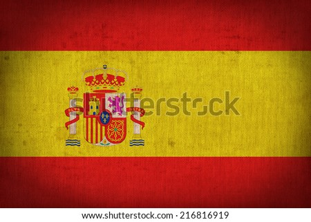 Spain flag pattern on the fabric texture ,retro vintage style - stock photo
