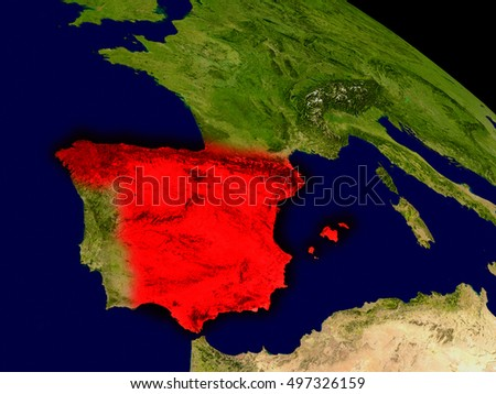 Spain from space in red. 3D illustration with highly detailed realistic planet surface. Elements of this image furnished by NASA.