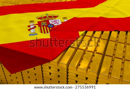 Spain gold reserve stock: golden bars (ingots) are covered with spanish flag in the storage (treasury) as symbol of national gold and foreign currency reserves, financial health, economic growth - stock photo