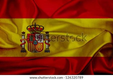 Spain grunge waving flag - stock photo