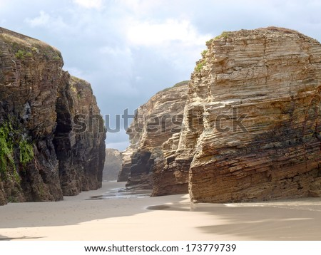 Spain, image of the Atlantic coast, beaches, cliffs and ocean. Playa Catedrais - stock photo