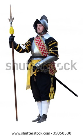 Spain knight with a lance and sword. Solid white background. - stock photo