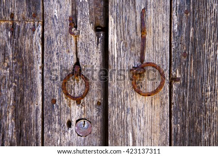 spain knocker lanzarote abstract door wood in the brown