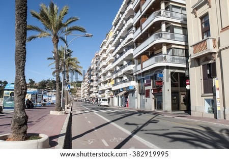 Spain. Lloret de Mar Embankment. The resort on the Mediterranean Sea