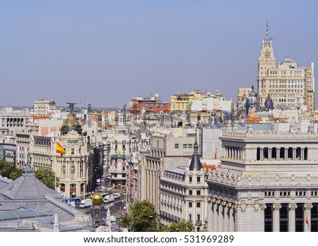 Spain, Madrid - July 18, 2014: View from the Cybele Palace towards the Alcala Street and the Metropolis Building.