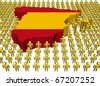 Spain map flag surrounded by many abstract people illustration - stock photo