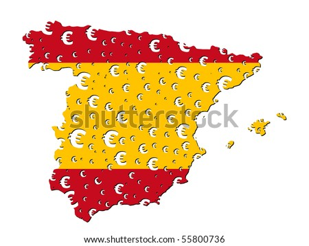 Spain map flag with euro symbol grunge effect illustration JPEG - stock photo