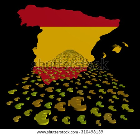 Spain map flag with euros foreground illustration - stock photo