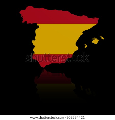 Spain map flag with reflection illustration - stock photo