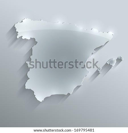 Spain map glass card paper 3D raster blank - stock photo