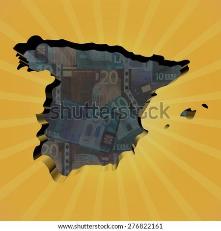 Spain map on euros sunburst illustration - stock photo