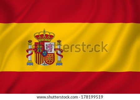 Spain national flag background texture. - stock photo