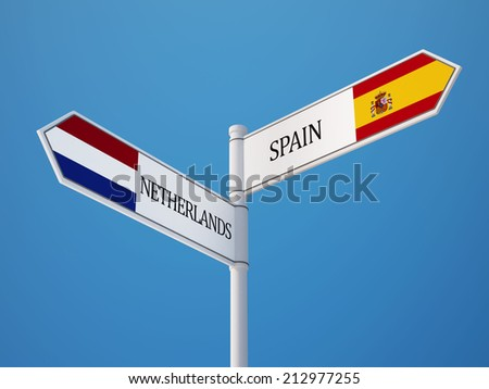 Spain Netherlands High Resolution Sign Flags Concept - stock photo