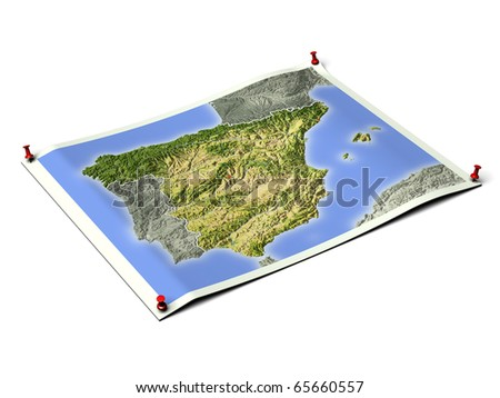 Spain on unfolded map sheet with thumbtacks. Map colored according to vegetation, with borders and major urban areas. Includes clip path for the background.
