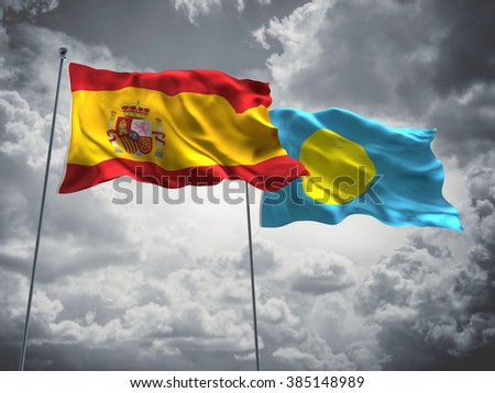 Spain & Palau Flags are waving in the sky with dark clouds
