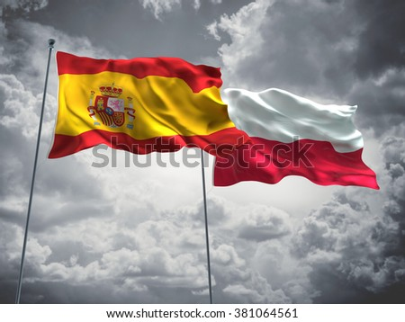 Spain & Poland Flags are waving in the sky with dark clouds