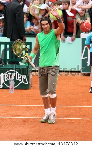 Spain's top tennis player Rafael Nadal greets public after his match at Roland Garros, French Open, Paris, France, 2008 - stock photo