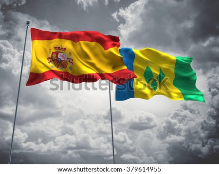 Spain & Saint Vincent and the Grenadines Flags are waving in the sky with dark clouds