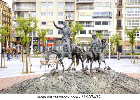 SPAIN, SAN-SEBASTIAN - May 01.2014: Sculpture of famous Spanish Don Quixote and Sancho Panza