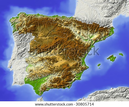 Spain. Shaded relief map. Surrounding territory greyed out. Colored according to elevation. Includes clip path for the state area. - stock photo