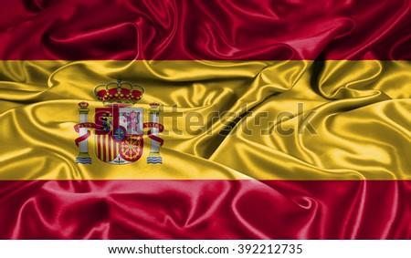 Spain silk flag - stock photo