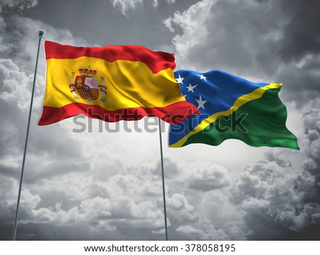 Spain & Solomon Islands Flags are waving in the sky with dark clouds