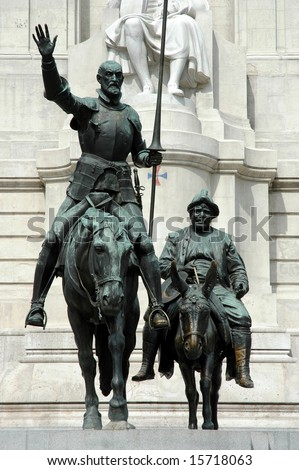 Spain Square in Madrid - Don Quijote and Sancho Panza (Spain) - stock photo