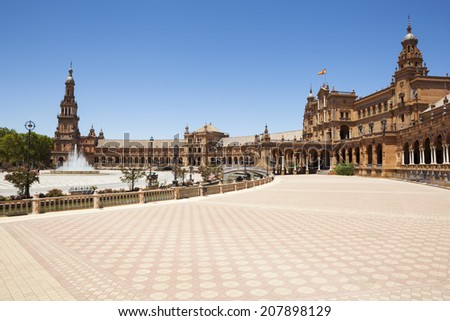 Spain Square (Plaza de Espana) is in the Maria Luisa Park, in Seville. It is a landmark example of the Renaissance Revival style in Spanish architecture. - stock photo