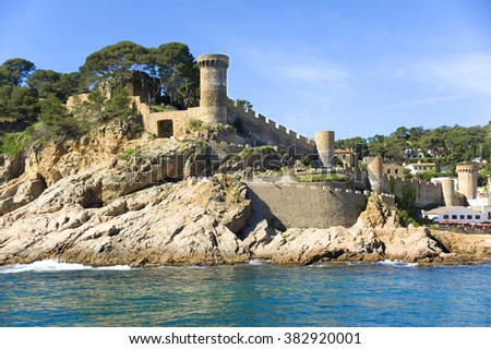 Spain. Tossa de Mar. A view of a fortress from the sea