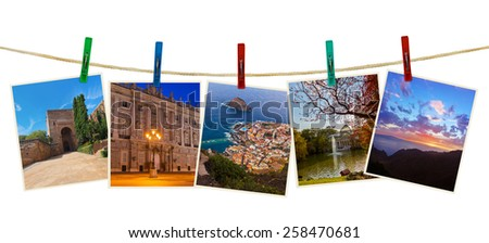 Spain travel photography on clothespins isolated on white background