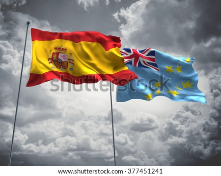 Spain & Tuvalu Flags are waving in the sky with dark clouds